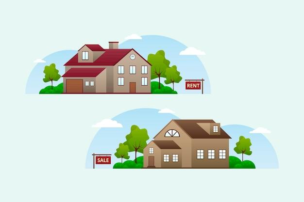 Projekt Domu Na Sprzedaż Darmowych Wektorów