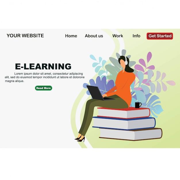 Projekt edukacji online z płaskiego izometrycznego projektu Premium Wektorów