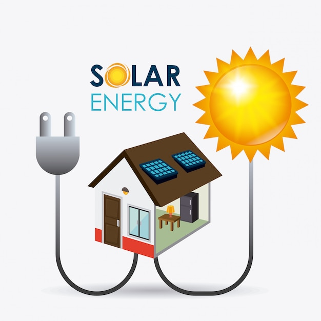 Projekt energii słonecznej. Premium Wektorów