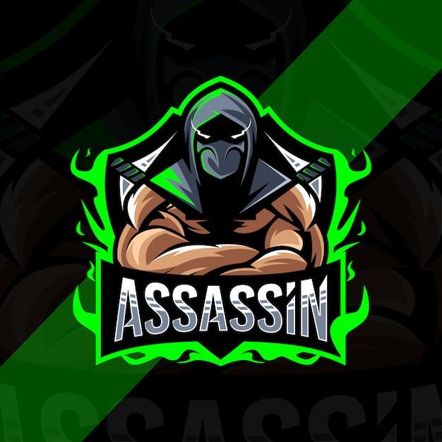 Projekt Esport Logo Maskotki Assassin Premium Wektorów