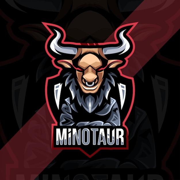 Projekt Esport Logo Maskotki Minotaura Premium Wektorów
