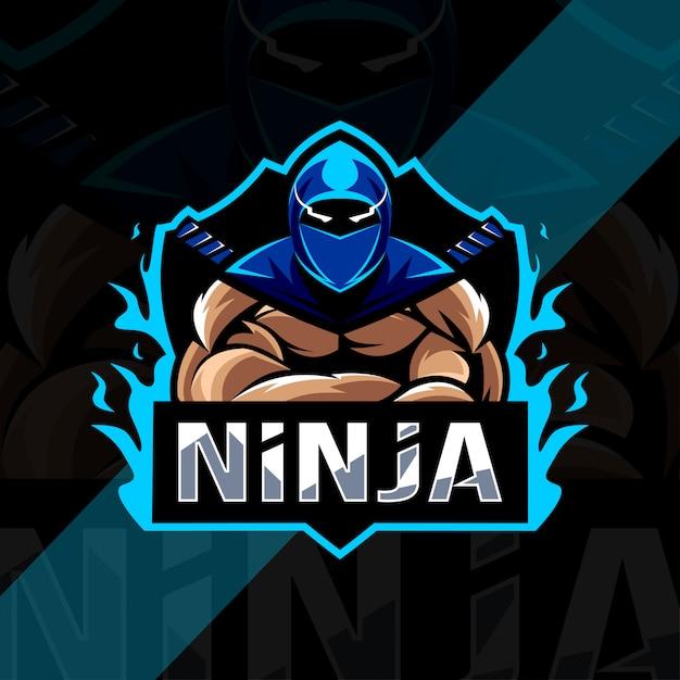 Projekt Esport Logo Maskotki Ninja Premium Wektorów