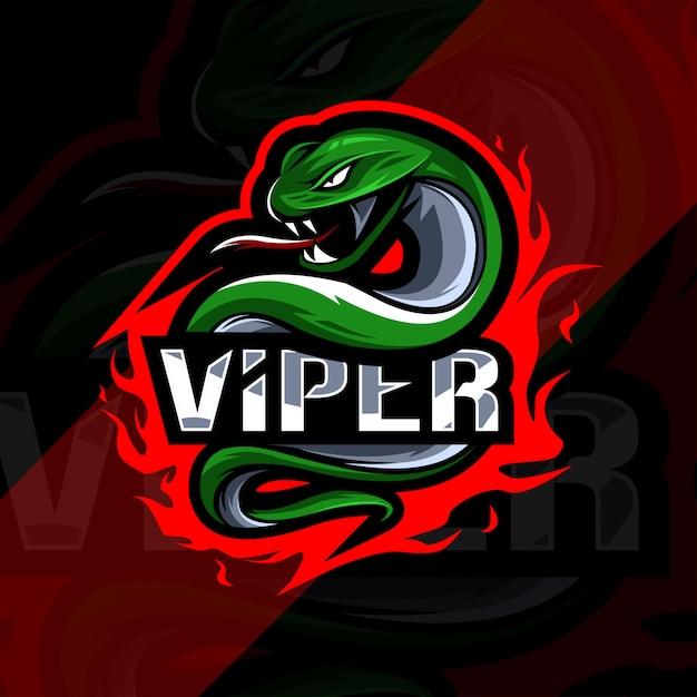 Projekt Esport Logo Maskotki Viper Premium Wektorów
