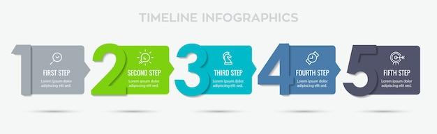 Projekt Etykiety Infografiki Z 5 Opcjami Lub Krokami. Infografiki Dla Koncepcji Biznesowej. Premium Wektorów