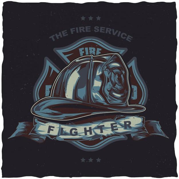 Projekt Etykiety Koszulki Strażaka Z Ilustracją Przedstawiającą Hełm Ze Skrzyżowanymi Siekierami. Darmowych Wektorów