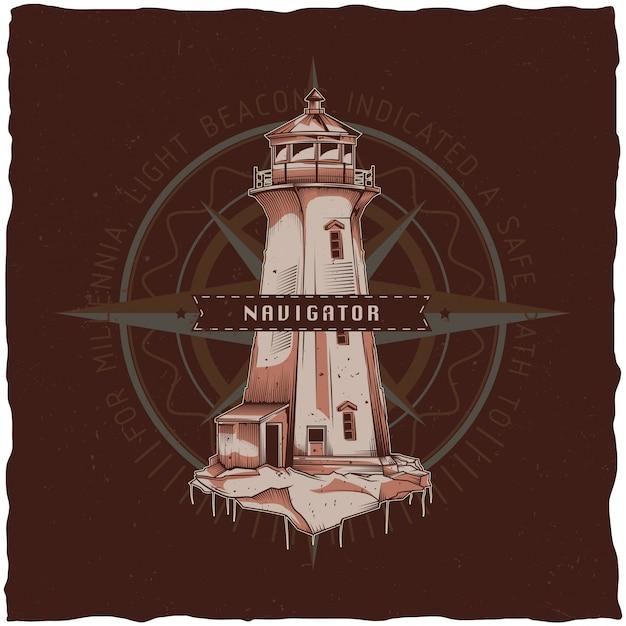 Projekt Etykiety T-shirt żeglarskie Z Ilustracją Starej Latarni Morskiej. Ręcznie Rysowane Ilustracji. Darmowych Wektorów