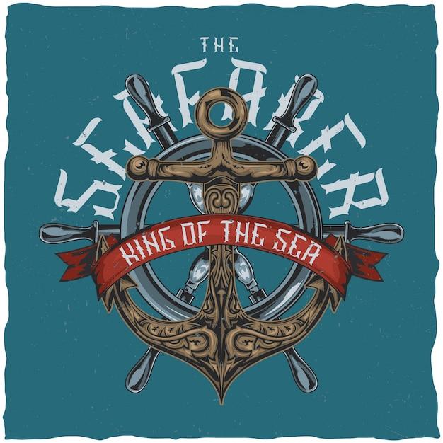 Projekt Etykiety T-shirtu W żeglarskim Stylu Z Ilustracją Kotwicy. Darmowych Wektorów