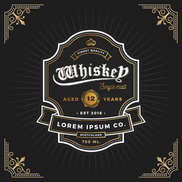 Projekt Etykiety Whiskey Darmowych Wektorów