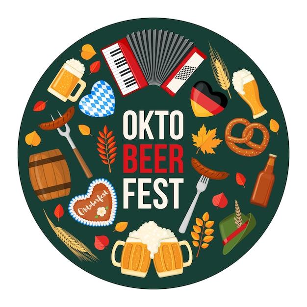 Projekt Festiwalu Piwa Oktoberfest W Stylu Płaskiej. Premium Wektorów