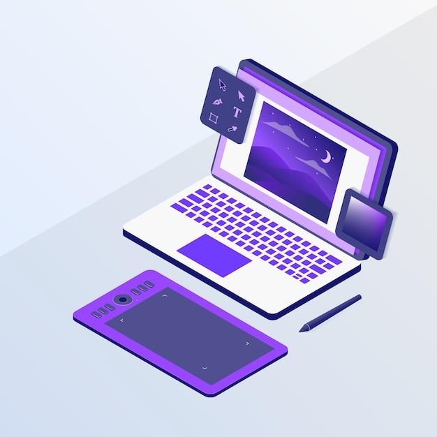 Projekt Graficzny Lub Koncepcja Projektanta Z Narzędziami Do Laptopa I Szkicowania Piórem W Stylu Izometrycznym Premium Wektorów
