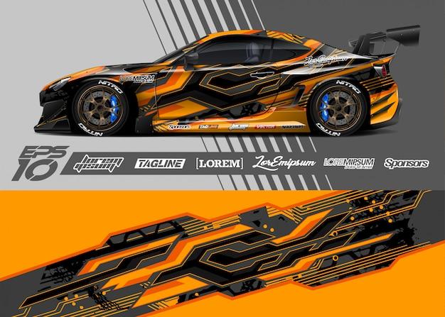 Projekt Graficzny Naklejek Samochodowych. Wyścigi Abstrakcyjne Paski. Premium Wektorów
