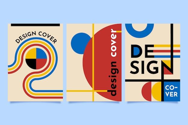 Projekt Graficzny Okładki W Kolekcji W Stylu Bauhaus Premium Wektorów