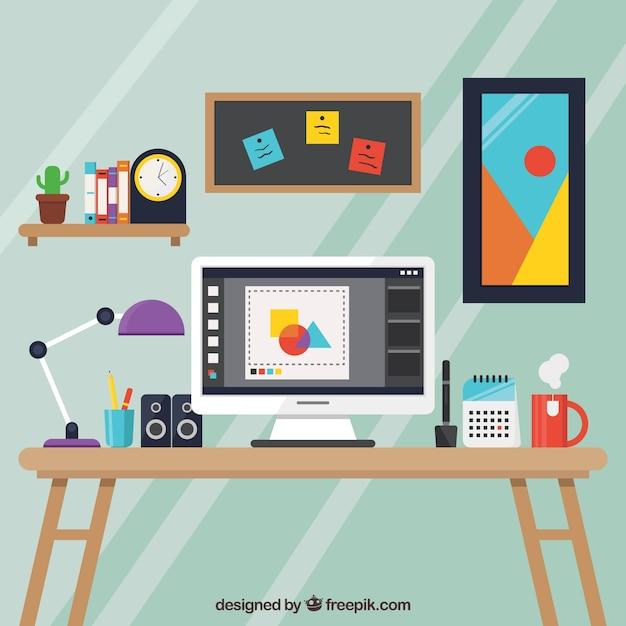 Projekt graficzny tła obszaru roboczego z biurka i narzędzi Darmowych Wektorów