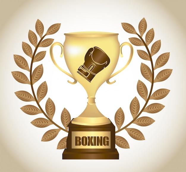 Projekt graficzny trofeum bokserskiego Darmowych Wektorów