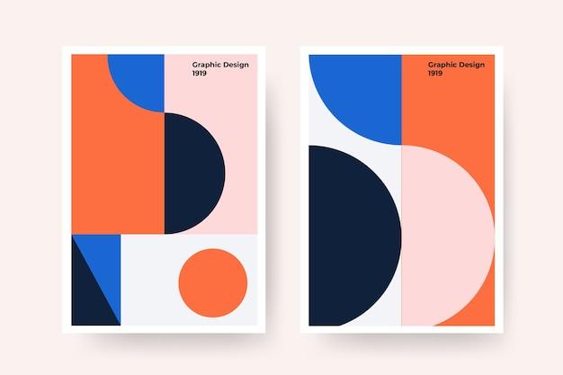 Projekt Graficzny W Stylu Bauhaus Z Zakrzywionymi Liniami Darmowych Wektorów