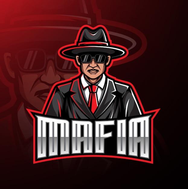 Projekt gry maskotka logo mafii Premium Wektorów
