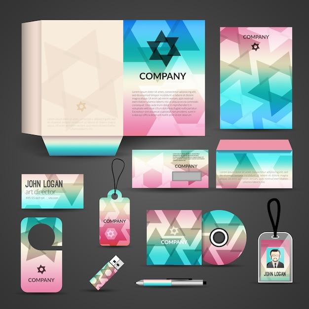 Projekt identyfikacji wizualnej, szablon marki. wizytówka, okładka, koperta, cd, dvd, usb, identyfikator, folder, długopis Premium Wektorów