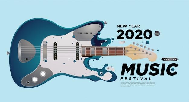 Projekt ilustracji festiwalu muzycznego i gitarowego na imprezę noworoczną 2020. Premium Wektorów