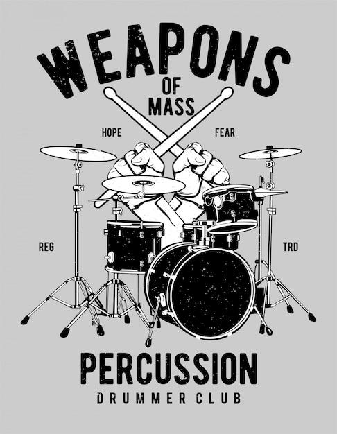 Projekt Ilustracji Weapons Of Mass Percussion Premium Wektorów