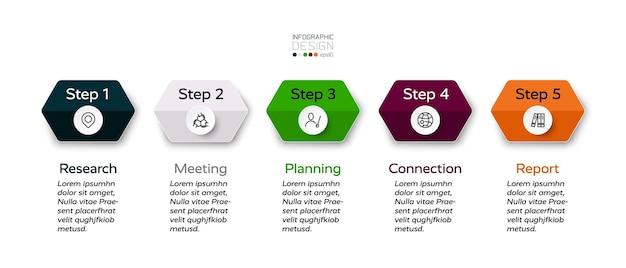 Projekt Infografiki 5 Sześciokątnych Kroków. Premium Wektorów