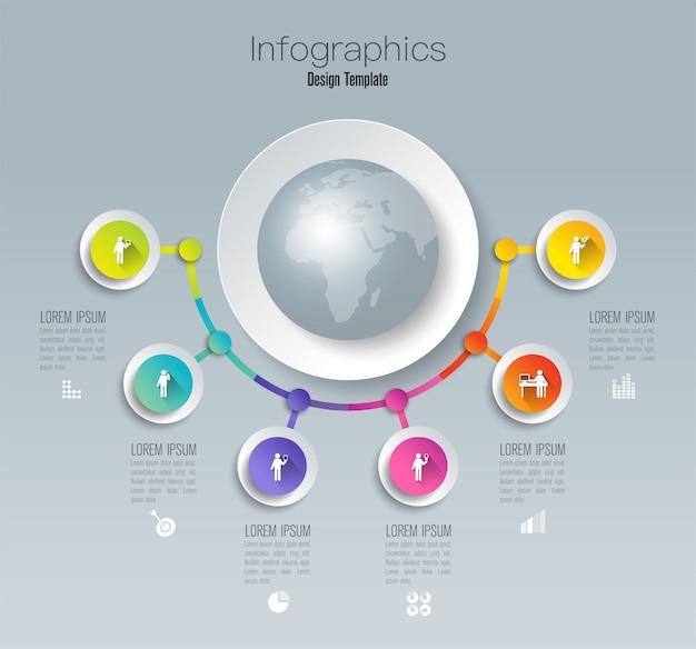 Projekt infografiki z kroków lub opcji. Premium Wektorów