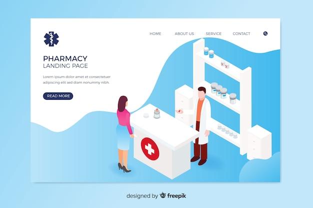 Projekt Izometryczny Strony Docelowej Farmacji Darmowych Wektorów