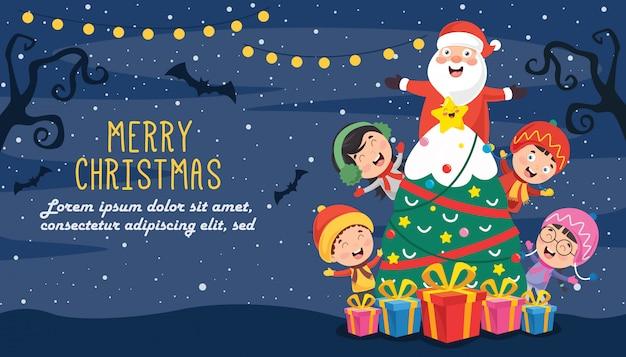 Projekt kartki świąteczne pozdrowienia z postaciami z kreskówek Premium Wektorów