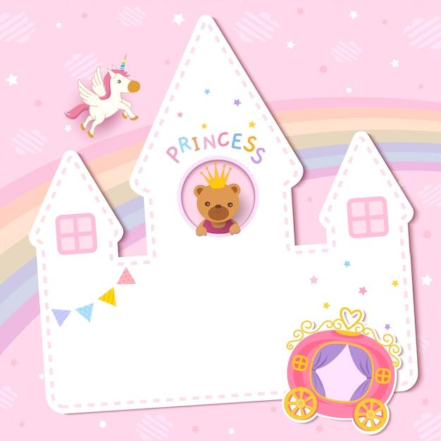 Projekt karty baby shower z księżniczką na zamku Premium Wektorów