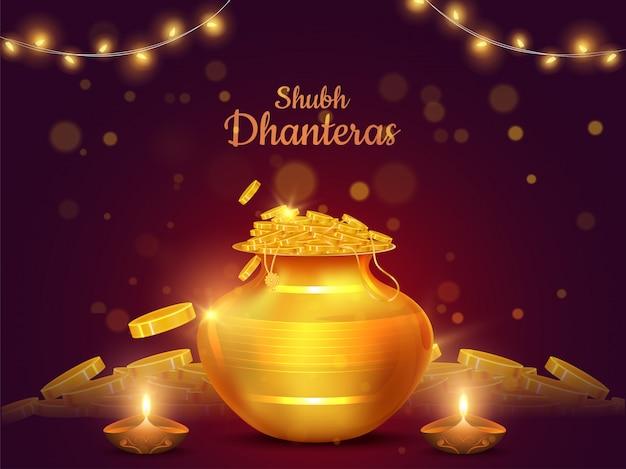 Projekt karty festiwalu shubh (happy) dhanteras z ilustracją garnka ze złotymi monetami i oświetloną lampą naftową (diya) Premium Wektorów