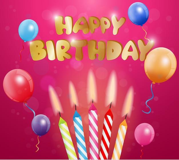 Projekt Karty Pozdrowienia Wszystkiego Najlepszego Z Okazji Urodzin Premium Wektorów