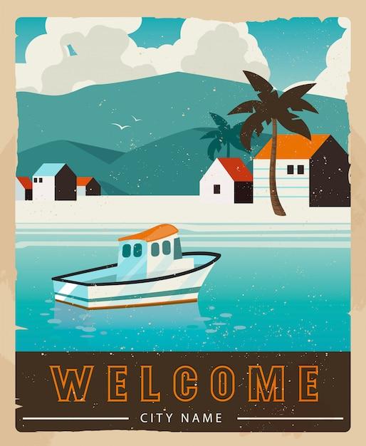 Projekt karty wakacje Premium Wektorów