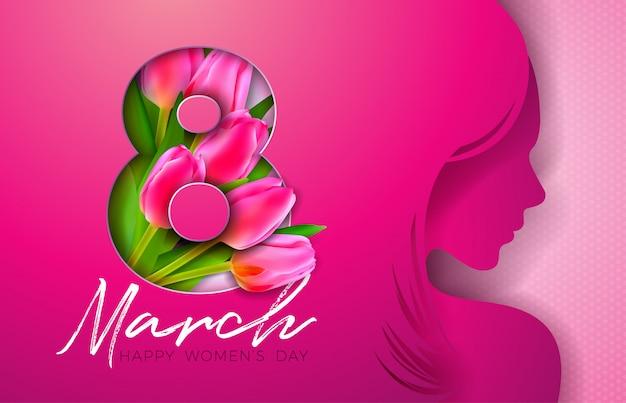 Projekt karty z pozdrowieniami dzień kobiet z młoda kobieta sylwetka Premium Wektorów