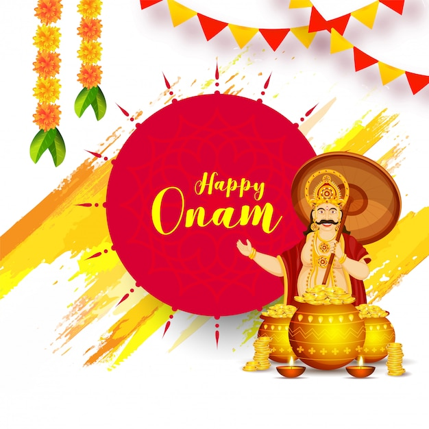 Projekt karty z pozdrowieniami lub plakatu happy onam uroczystości z ilustracją króla mahabali i złote monety Premium Wektorów