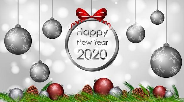 Projekt Karty Z Pozdrowieniami Na Nowy Rok 2020 Darmowych Wektorów