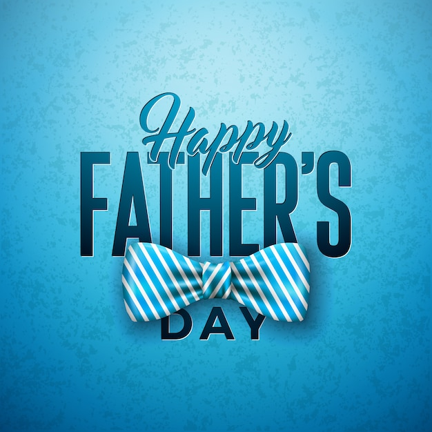 Projekt Karty Z Pozdrowieniami Szczęśliwy Dzień Ojca Z Sriped Muszka I List Typografii Darmowych Wektorów