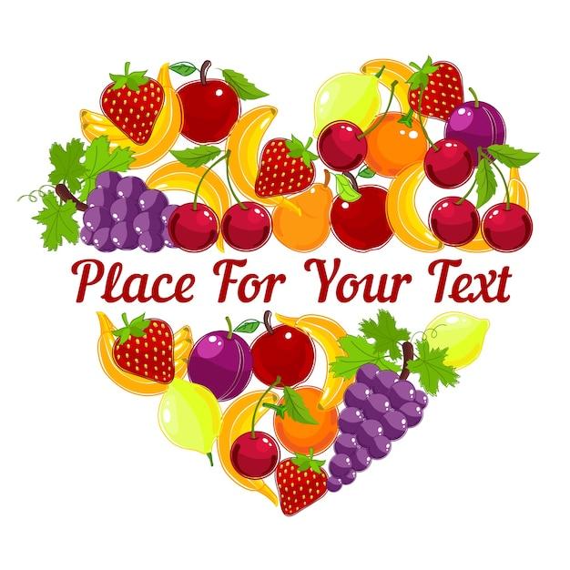 Projekt Karty Z Pozdrowieniami W Kształcie Serca Z Kolorowych świeżych Owoców Tropikalnych Darmowych Wektorów