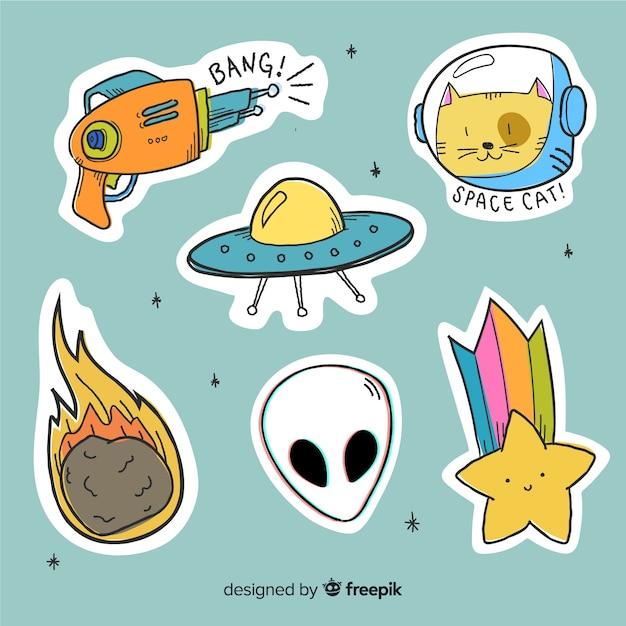 Projekt kolekcji kreskówka naklejki kosmiczne Darmowych Wektorów