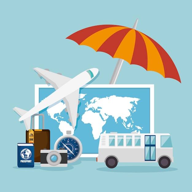 Projekt Koncepcji Podróży Premium Wektorów