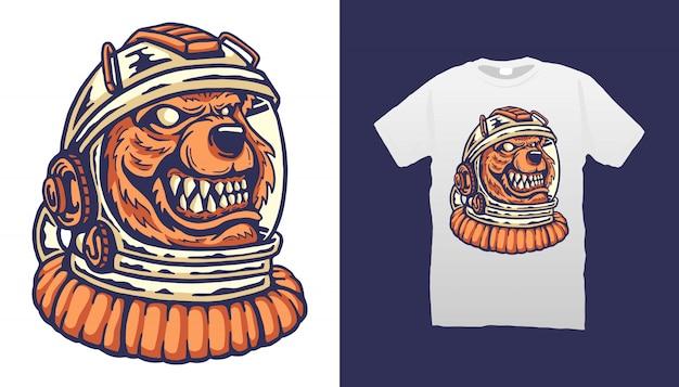 Projekt Koszulki Bear Astronaut Premium Wektorów