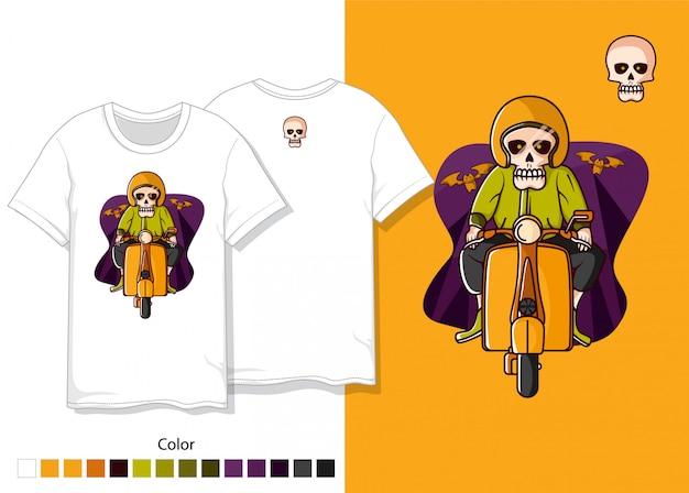Projekt koszulki czaszki Premium Wektorów