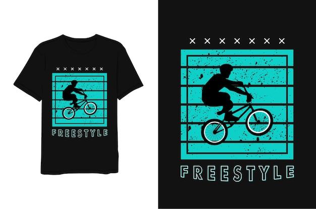Projekt Koszulki Freestyle, Motocyklista Premium Wektorów