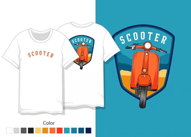 Projekt koszulki hulajnogi Premium Wektorów