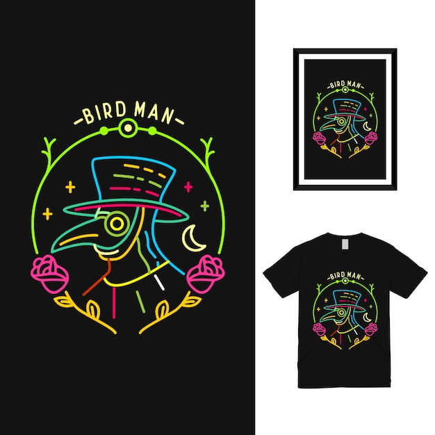Projekt Koszulki Kolorowy Ptak Człowiek Premium Wektorów
