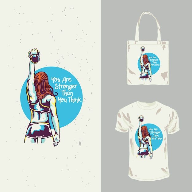 Projekt Koszulki Lady Fitness Premium Wektorów