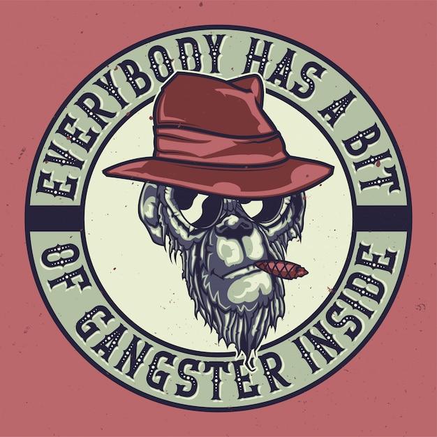 Projekt Koszulki Lub Plakatu Z Ilustracją Gangsterskiej Małpy. Darmowych Wektorów