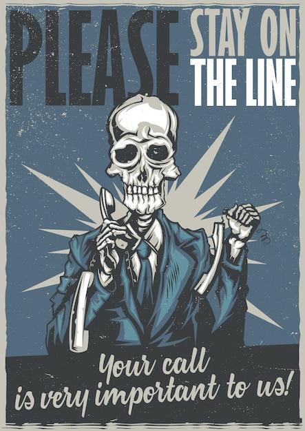 Projekt Koszulki Lub Plakatu Z Ilustracją Martwego Operatora Call Center Darmowych Wektorów
