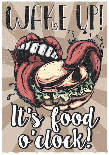 Projekt Koszulki Lub Plakatu Z Ilustracją Przedstawiającą Duże Usta Jedzące Dużego Burgera Darmowych Wektorów