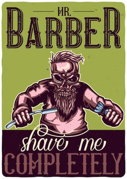 Projekt Koszulki Lub Plakatu Z Ilustracją Przedstawiającą Szkielet Fryzjera. Darmowych Wektorów