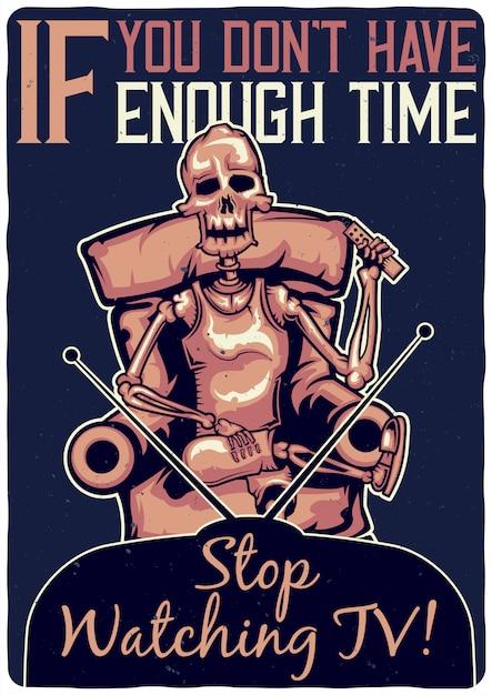 Projekt Koszulki Lub Plakatu Z Ilustracją Przedstawiającą Szkielet Na Sofie. Darmowych Wektorów