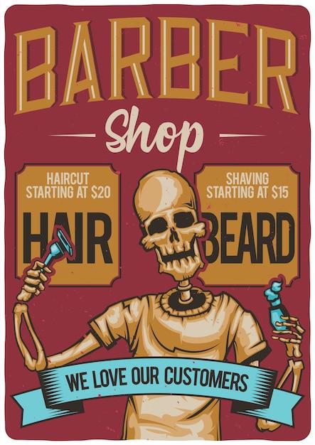 Projekt Koszulki Lub Plakatu Z Ilustracją Salonu Fryzjerskiego. Darmowych Wektorów